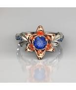 Leaf Engagement Ring, Gold Leaf Ring, Sapphire Leaf Ring, Gold Leaf Ring - £69.98 GBP