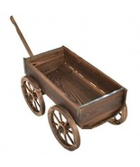 Wood Wagon Planter Pot Stand with Wheels - £134.48 GBP