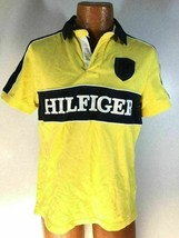 Hilfiger Spell Out Mens Short Sleeve Rugby Polo Large Logo Custom Rare Yellow M - $19.79