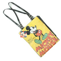 Disney MICKEY MOUSE Black Yellow Graphic Tote Shoulder Bag Purse NWT - $18.80