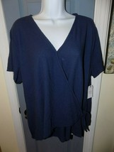 TIME and TRU Wrap Knit Blue Top Size 3X Women's NEW - $21.60