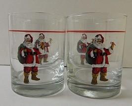 4 Multi/Color Christmas Winter Holiday Santa Water Whiskey Glasses Tumbl... - $29.69