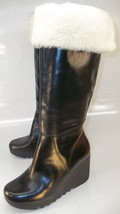 Michael Kors Womens US 7.5M Black Leather Pull On Wedge Tall Faux Fur To... - $111.84