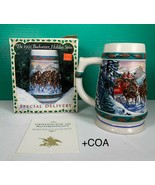 "1993 Budweiser Clydesdales Holiday Beer Stein ""SPECIAL DELIVERY + COA 20oz - $19.79"