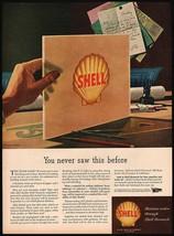 Vintage magazine ad SHELL gas oil clamshell logo 1945 Robert Geissmann artwork - $12.99