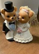 Bride and Groom Bears Figurine Cake Topper Wedding #1424 Homco Retired - $6.80