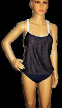 NEXT Black with Light Blue Dots Blouson Swimsuit Top Size 32 B/C
