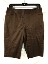 Apt. 9 Women's Bermuda Shorts sz 8 Reg Brown The Ava Pant Linen Blend - $15.88