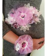 Pink Gray Purple maternity belt Sash Floral belt Blush Bridal Photo prop... - $55.00
