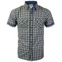 Overdrive Men's Cotton Plaid Button Up Casual Short Sleeve Slim Fit Dress Shirt image 5