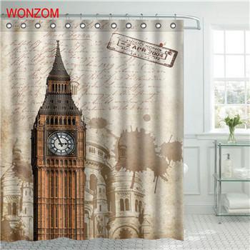 WONZOM Eiffel Tower Waterproof Shower Curtain Paris Bathroom Decor Scenery Decor