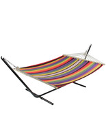 "Northlight 55"" x 78"" Multi Color Stripe Poly Cotton Hammock Wood Bars & ... - $68.05"