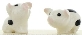 Hagen Renaker Miniature Pig Black & White Baby Piglets - Set of 2 Figurines