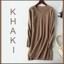 Ladies Soft Mink Cashmere Long Sleeve Khaki V Neck Mini Sweater Shirt Dress