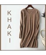 Ladies Soft Mink Cashmere Long Sleeve Khaki V Neck Mini Sweater Shirt Dr... - $108.95