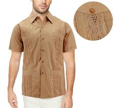 Men's Cuban Beach Wedding Button-Up Khaki Embroidered Guayabera Dress Shirt image 1