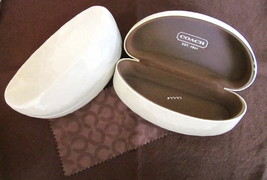 Coach Sunglass Eyeglass Case Hard Clamshell Ivory White - NWOT - $22.00