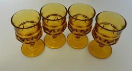 Kings Crown Thumb Print Amber 4 oz Cordial / Juice Glasses Indiana Glass... - $19.75