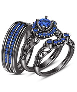 His & Hers 3 pc Blue Sapphire 925 Silver Designer Wedding Trio Ring set - $170.99