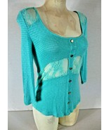 Rue 21 womens Medium 3/4 sleeve blue LACE INSERTS faux button stretch to... - $14.99