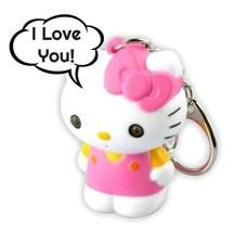 LED HELLO KITTY KEYCHAIN w Light and Sound Says I Love You Animal Key Ri... - $6.95