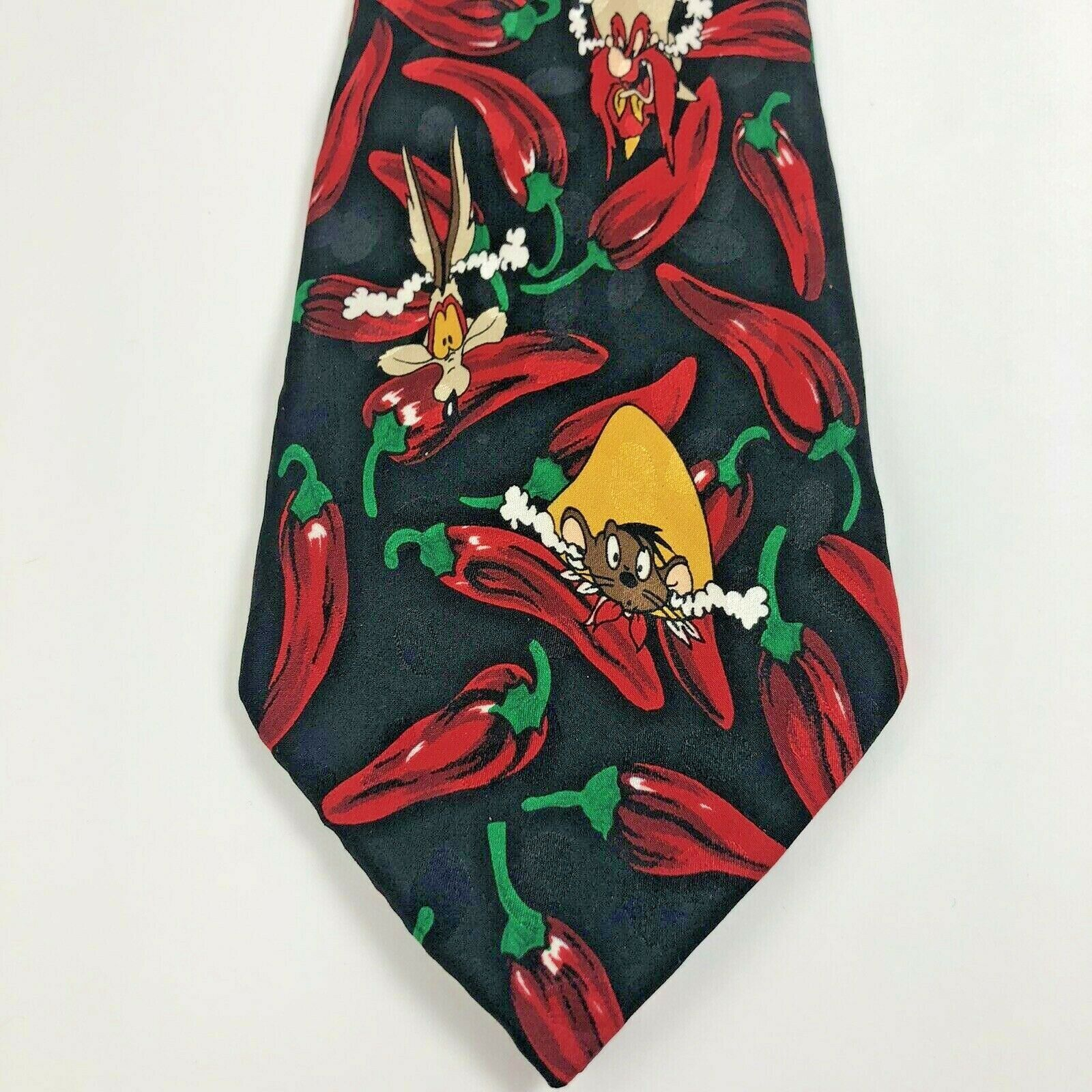Primary image for Looney Tunes Mania 1995 Vintage Necktie Tie Chili Peppers 100% Silk - 73469