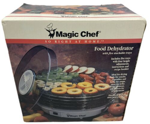 Magic Chef Electric Food Dehydrator With 5 Stackable Trays 469-1 Box Manual - $46.53