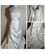 Reem Acra Wedding Dress Women's Cream Strapless Embroidered Gown Bride V... - $1,859.99