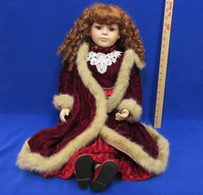 "Vintage 28"" Porcelain Doll Collectors Choice By DanDee Velveteen Dress &... - $25.38"