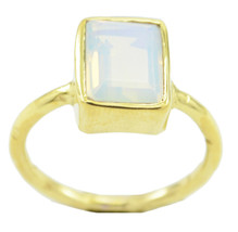 charming Fire Opal CZ Gold Plated White Ring Natural supplies US gift - $9.99