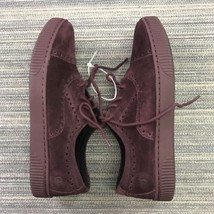 Born Womens Shoes Cymbal Suede Cap Toe Sneaker bURGUNDY Lace Up SizE 8M - $55.88