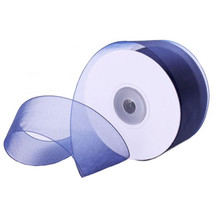 "2-3/4"" Plain Sheer Organza Nylon Ribbon 25 Yards - Navy Blue - $6.88"