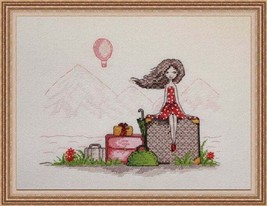 Cross Stitch Hand Embroidery Kit Cute Girl, Vacation Dreams - $15.68