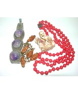 VINTAGE ART DECO CHINESE CARVED PEACH PIT BEADS AMETHYST CABOCHONS BUDDHA - $350.00