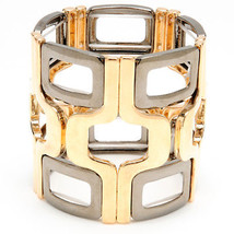 NEW $100 Amrita Singh Gold & Hematite CUBU Two Tone Stretch Bracelet W/ ... - $49.99