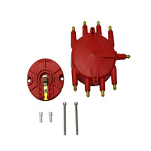 Low Profile Crab Style Replacement Distributor & Rotor Cap Male Red MSD Type