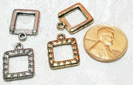 SQUARE PICTURE FRAME FINE PEWTER PENDANT CHARM - 13mm L x 17mm W x 2mm D image 3