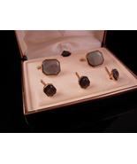 Wedding Cufflinks set VIntage Box Victorian swank button studs abalone g... - $155.00