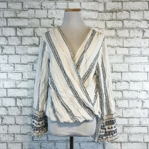 Willow & Clay Anthropologie Women's Wrapped Front Blouse Shirt Size Large - $22.49