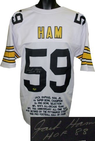 Primary image for Jack Ham signed White TB Custom Stitched Pro Style Football Jersey HOF 88 w/ Emb