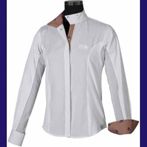 Equine Couture Ladies Show Shirt - Boats!  NEW!  Size 40  Putty