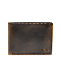 fossil man genuine Leather wallet Wade Bifold - $17.00