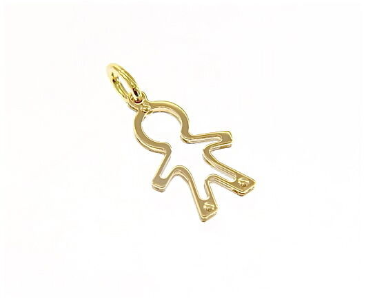 18K YELLOW GOLD LUSTER PENDANT WITH BOY CHILD PERFORATED MADE IN ITALY 0.96 INCH