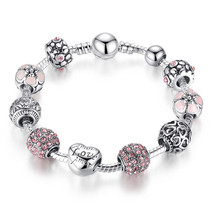 Women's Bracelet Bangle Antique Silver Charm with Flower Crystal Jewelry - $5.34+