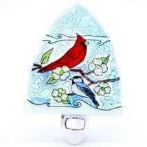 Fused Art Glass Cardinal Chickadee Bird Nightlight Night Light Handmade Ecuador image 6