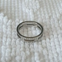 Swarovski Sparkling White Crystal Set in Silver Tone Rectangle Cut Out Band Sz 9 - $37.40