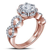 Solid 925 Silver 14k Rose Gold Plated Round Cut Diamond Wedding Engageme... - ₹5,464.11 INR