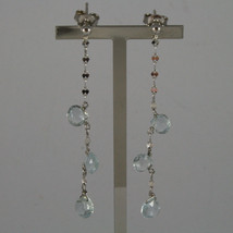 SOLID 18K WHITE GOLD EARRINGS, WITH DROP OF AQUAMARINE LENGTH 2.28 INCHES image 1