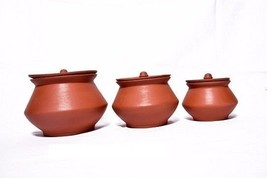 earthenware dinner serving bowl donga organic set of 3 w/ clay lid serve ware - $108.90