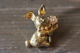 Gold Tone Enamel Bunny Rabbit Holding Flower Pin - $14.84
